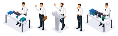 Qualitative Isometry, 3D businessmen in different poses and emotions, an excellent set for games and advertising concepts.