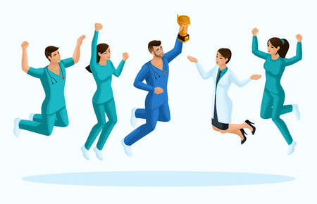 Quality Isometry, 3D doctors and a nurse, jump, joy the happiness of medical personnel, for advertising concepts.