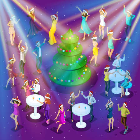 Isometric celebration of Christmas, 3d dancing, happiness of a man and a woman are having fun, festive Christmas tree in the center, corporate party-01.