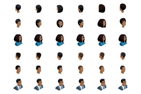 Qualitative Isometry is a detailed study of a set of hairstyles and emotions for characters in isometric. African American man and woman. Front view and rear view. Illustration