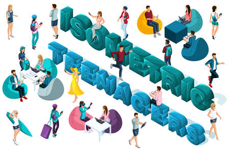 Qualitative Isometry, 3D characters of teenagers and young entrepreneurs around the text, co work, freelancers, students. Vector illustration. Vettoriali