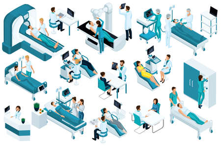Set Isometric, medical workers and patients, hospital bed, MRI, X-ray scanner, ultrasound scanner, dental chair, operating room. Ilustração Vetorial