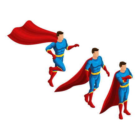 Isometry set of motion superheroes, 3D set of supermen in a suit with a raincoat. Runs, hurries, waits. Ilustrace