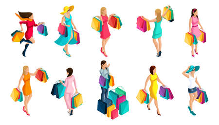 Isometry of a girl buying, sale, packages, holidays, black Friday, Fashionable clothes for a modern girl, for vector illustrations. Vettoriali