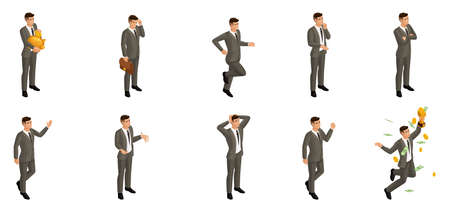 Isometric man with emotions, 3d businessman, in different poses with different emotions and movements. Use the appropriate character image for advertising concepts.