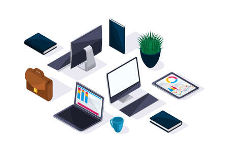 Business accessories in isometric, beautiful concept of advertising and presentations. Laptop, tablet, monitor, briefcase.