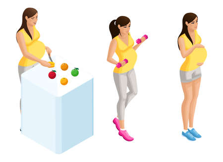 Isometry of pregnant girls in different situations, prepares healthy food, goes in for sports, cares for the baby. Set of pregnant women.