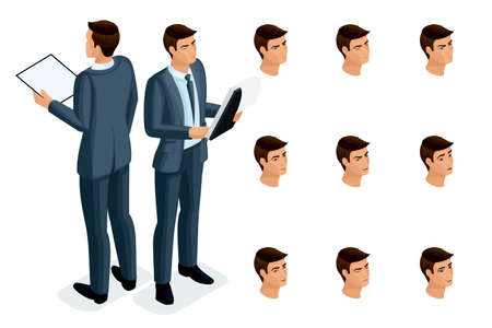Isometric icons of woman's emotions, 3D body front view and rear view, face, eyes, lips, nose. Facial expression. Qualitative isometry of people for vector illustrations. Banque d'images - 113144671