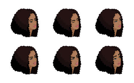 Isometry icons of the head of the business woman's hairdo, 3D faces, eyes, lips, girl emotions, facial expressions, anger, joy. Qualitative isometry of people. Banque d'images - 115415978