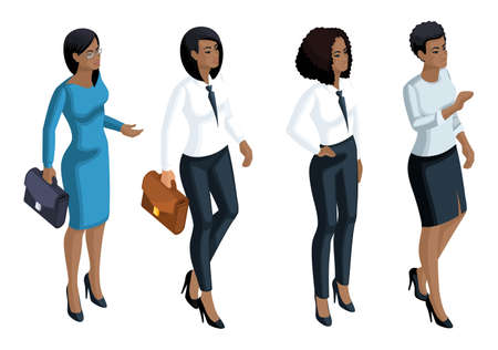 Isometric icons emotion a woman African American, 3d business woman, general manager, lawyer. Expression of the face, make-up. Qualitative for vector illustrations. Stock Photo