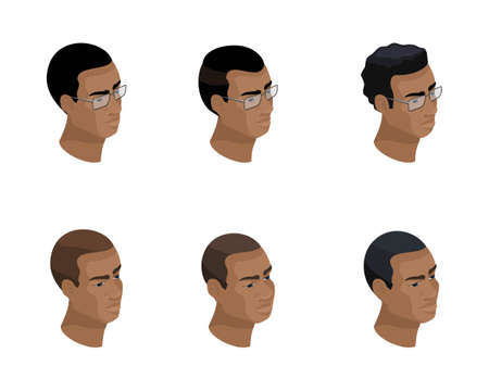 Isometry of an icon of a head of a hairstyle of an African-American, 3D faces, eyes, lips, a man's emotions. Qualitative isometry of people for vector illustrations.