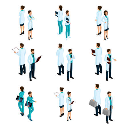 Set of medical workers in the isometric front and back, hospital staff, doctor, surgeon, nurse.
