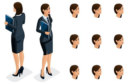 Isometric icons of woman's emotions, 3D body front view and rear view, face, eyes, lips, nose. Facial expression. Qualitative isometry of people for vector illustrations. Banque d'images - 113545489