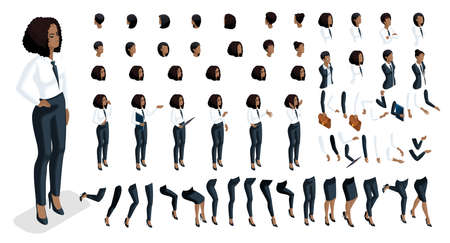 Isometrics people emotions face, create your character. 3d business of an African American woman with a set of emotions and gestures of hands. Creative large set for vector illustrations