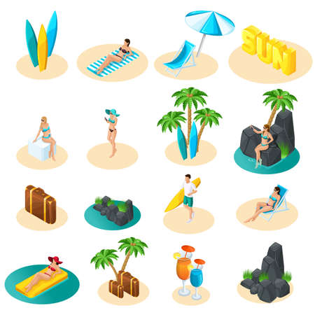 Isometrics set of icons for the beach, girls in bikini, guy with surfboard, palm trees, sun, sea excellent set for vector illustrations. Vettoriali