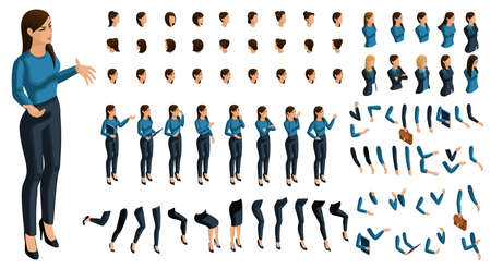 Isometrics people emotions face, create your character. 3D business lady with a set of emotions and gestures of hands. Creative large set for vector illustrations. Ilustração