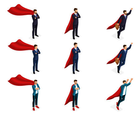 Isometry is a set of vector supermen of super heroes, 3d businessmen are teenagers, young entrepreneurs. Vector illustration.