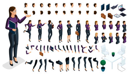 Large isometric Set of gestures of hands and feet of a woman 3d business lady. Create your own isometric character in stylish clothes, an office worker for vector. Ilustração