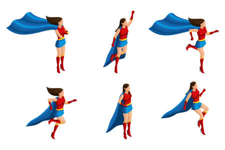 Isometry set of girls, short skirt suit, different poses, 3D super, heroes, rescuers. Vector illustration.