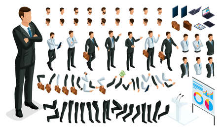 Large isometric Set of gestures of hands and feet of men, 3D character businessman. Create your own isometric office worker walks around or sits for vector illustrations. Illustration