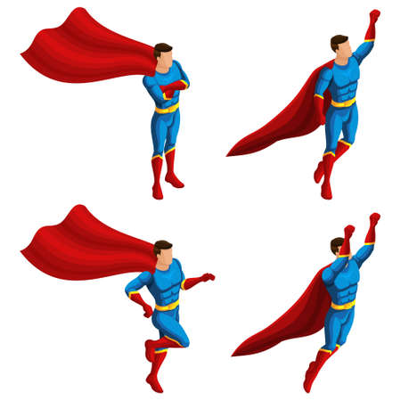 Isometrics A set of superhero men in a suit, runs, jumps, rushes to the rescue, 3D super man, heroes, rescuers. Vector illustration.