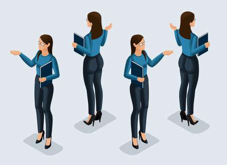Isometrie ist eine Geschäftsfrau. Büroangestellter des Mädchens 3d, in einer Vorderansicht und in der Rückansicht des Anzugs. Menschliches Symbol für Vektorillustrationen.