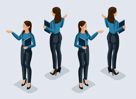 Isometry is a business woman. 3d girl office worker, in a business suit front view and rear view. Human icon for vector illustrations.