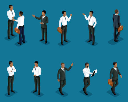 Isometrics set of male African American office workers, in business clothes, management, training, coaching.3D people for Vector illustrations.