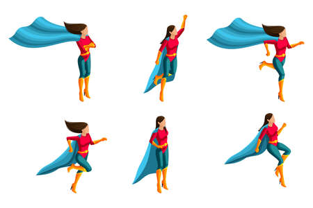Isometrics A set of girls in a suit, runs, jumps, rushes to the rescue, 3D super, heroes, rescuers. Vector illustration. Vectores