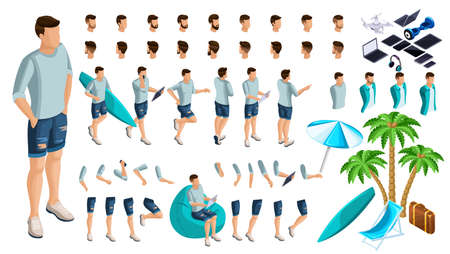 Isometric Set of gestures of hands and feet of a male 3d teenager, rest guy in summer clothes. Create your character for vector illustrations.