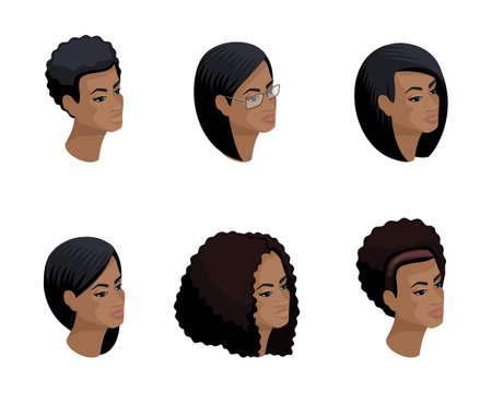 Icônes isométriques de la tête de la coiffure afro-américaine, visages 3D, yeux, lèvres, émotions féminines. Isométrie qualitative des personnes pour les illustrations vectorielles. Vecteurs