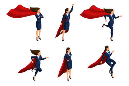 Isometric Set of girls, 3d business lady, super woman, super hero. Business suit, raincoat. Office worker with super abilities.
