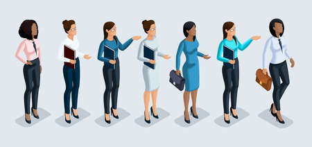 Isometry set of business women. 3D girls African American and European office worker, in business trousers and blouse and trousers. Girl for vector illustration.