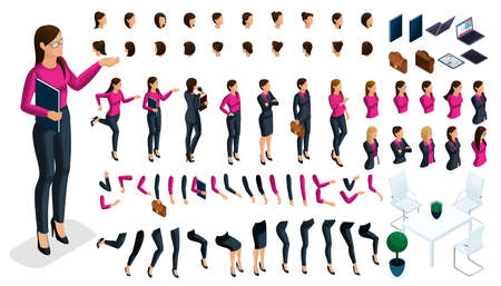 Large isometric Set of gestures of hands and feet of a woman 3d business lady. Create your own isometric character in stylish clothes, an office worker for vector illustrations.