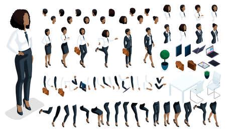 Grande insieme isometrico di gesti delle mani e gambe di donna afroamericana 3d business lady. Crea il tuo impiegato isometrico per le illustrazioni vettoriali.