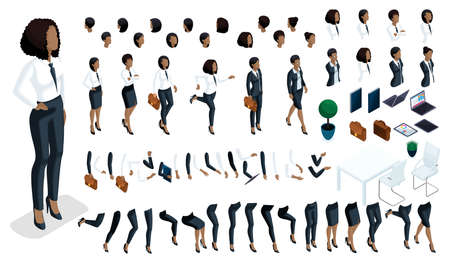 Large isometric Set of hand gestures and legs of African American woman 3d business lady. Create your isometric office worker for vector illustrations. Иллюстрация