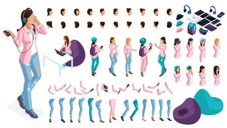 Gran conjunto isométrico de gestos de manos y pies de una mujer Dama de negocios 3d. Cree su propio carácter isométrico para un oficinista para ilustraciones vectoriales.