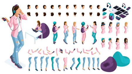 Grand ensemble isométrique de gestes des mains et des pieds d'une femme d'affaires 3d. Créez votre propre personnage isométrique pour un employé de bureau pour les illustrations vectorielles.