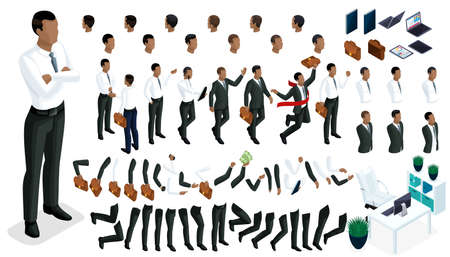 Large isometric Set of gestures of hands and feet 3d character of an African American businessman. Create your character office worker, walks around or sits for vector illustrations.