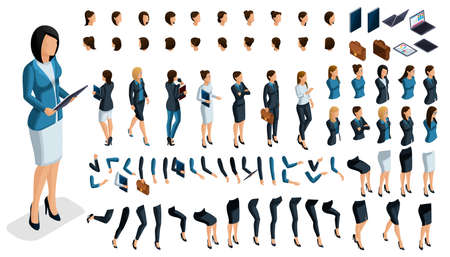 Large isometric Set of gestures of hands and feet of a woman 3d business lady. Create your own isometric character for an office worker for vector illustrations. Ilustração