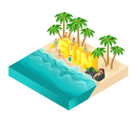 Isometric cartoon people vector, 3d girl in bathing suits, great word Sun, relaxation, palm trees, drinks, sea, beach sun bright summer vector illustration.