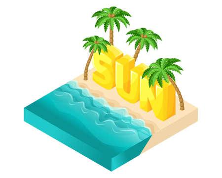 Isometrische Cartoon-Vektor-Leute, 3D-Buchstaben Wort Sonne, Strand mit schönen Meereswellen und große Palmen helle Sommer-Vektor-Illustration.
