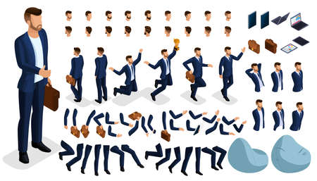Isometric cartoon people, 3D Set for creating an office worker character. Full length gestures isolated on white background. Create your own design for vector illustrations. Ilustração