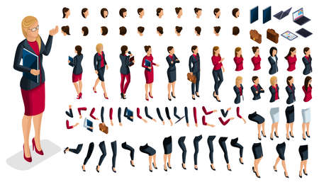Large isometric Set of hand and foot gestures of a woman, to create a 3D business lady character. Create your isometric office worker for vector illustrations. Illustration