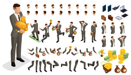 Set gestures hands man, leg position in isometry to create a 3D character of an investor businessman. Create your character and group with different for vector illustrations. Ilustração