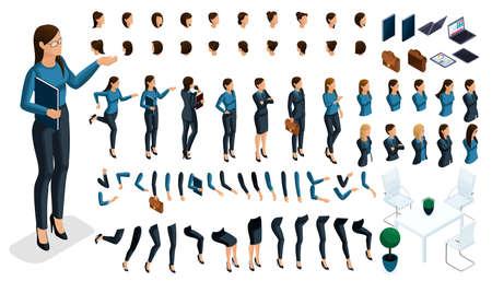 Ensemble de gestes des mains d'une femme, position des jambes en isométrique pour créer un personnage de femme d'affaires 3D. Créez votre personnage et votre groupe avec différentes expressions pour les illustrations vectorielles.