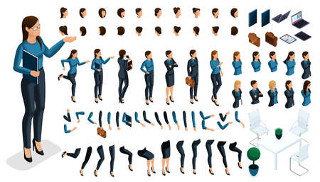 Set of gestures of a womans hands, leg position in isometric to create a 3D business lady character. Create your character and group with different expressions for vector illustrations.