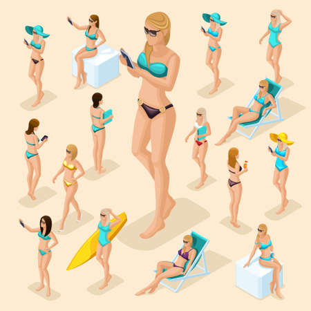 Isometric people girl set, 3d woman on the beach, great choice, front view back view, standing, sitting, lying on deck chairs, with surfboard, in swimsuit for summer vector illustration. Illustration