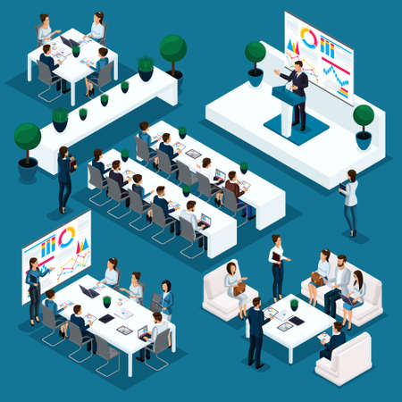 Isometric people person, 3d businessmen, leader's speech on demand, indicators and schedules educational process, coaching, business conference, young entrepreneurs.