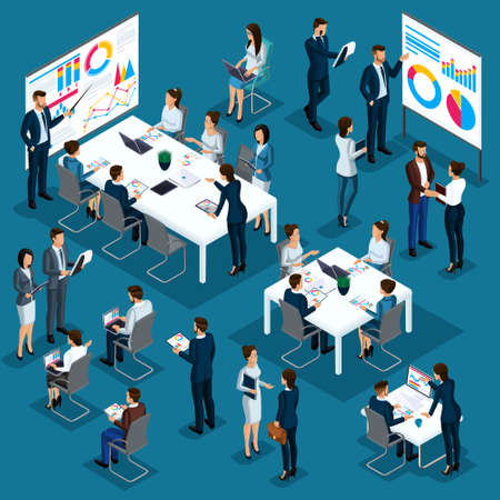 Isometric people person, 3d coaching, business coach, businessmen, company employees, meeting, partnership, concept management, business processes, training graphics vector